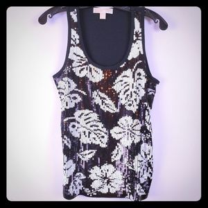 Michael Kors hibiscus sequin black white tank S